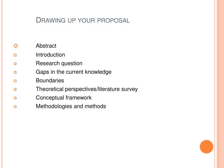 Drawing up your proposal
