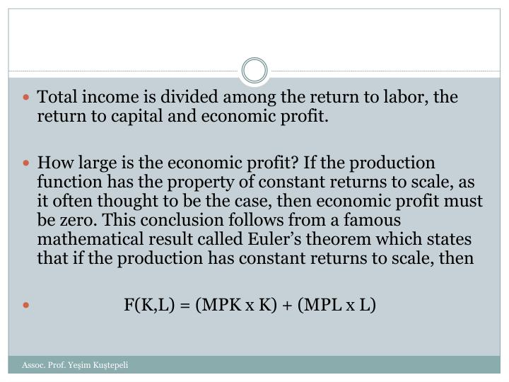 Total income is divided among the return to labor, the return to capital and economic profit.