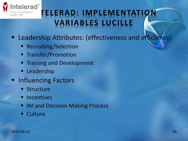 Leadership Attributes: (effectiveness and efficiency)