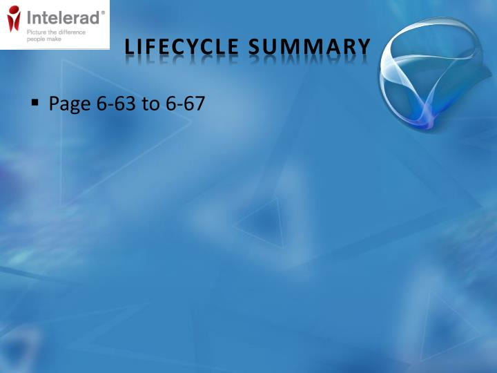 Lifecycle Summary