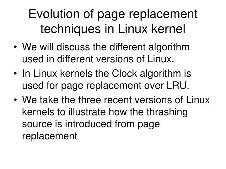 Evolution of page replacement techniques in Linux kernel