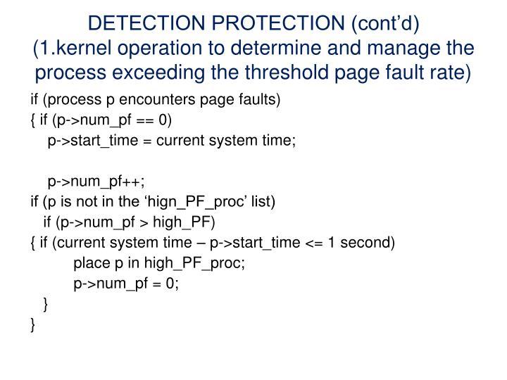 DETECTION PROTECTION (cont'd)