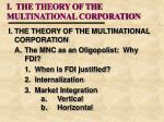 i the theory of the multinational corporation