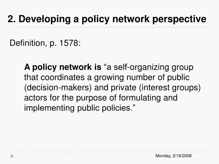 2. Developing a policy network perspective