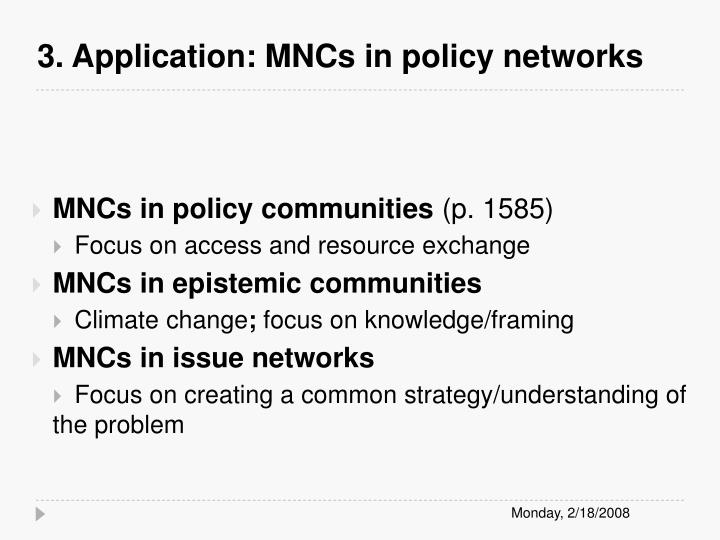 3. Application: MNCs in policy networks