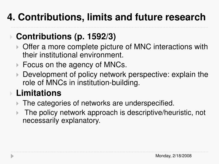 4. Contributions, limits and future research