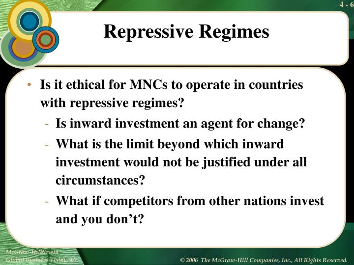 Is it ethical for MNCs to operate in countries with repressive regimes?