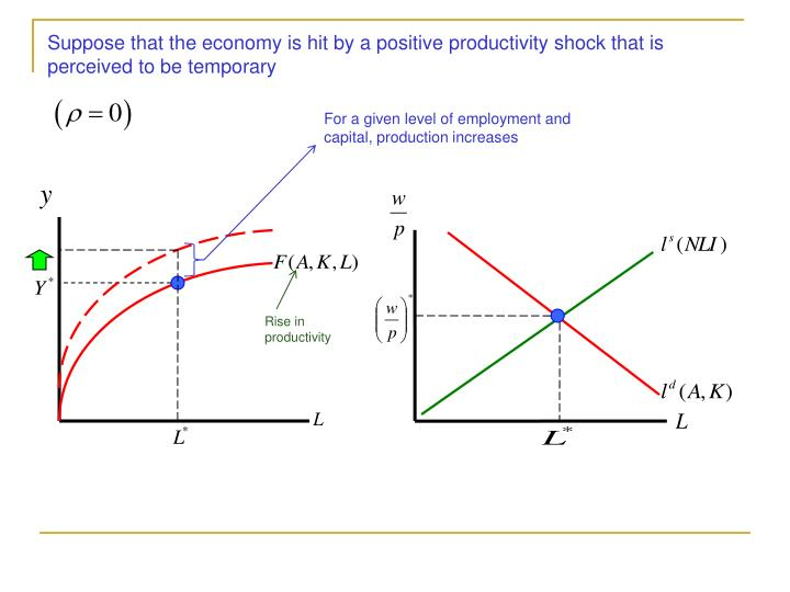 Suppose that the economy is hit by a positive productivity shock that is perceived to be temporary