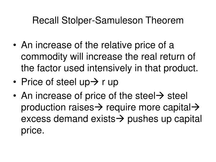 Recall Stolper-Samuleson Theorem