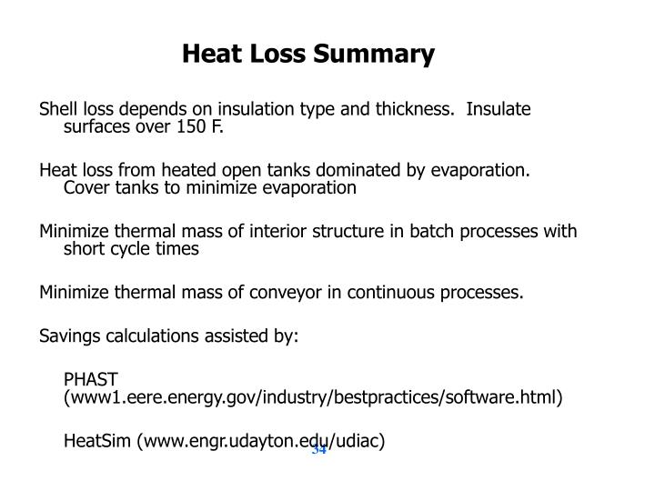 Heat Loss Summary