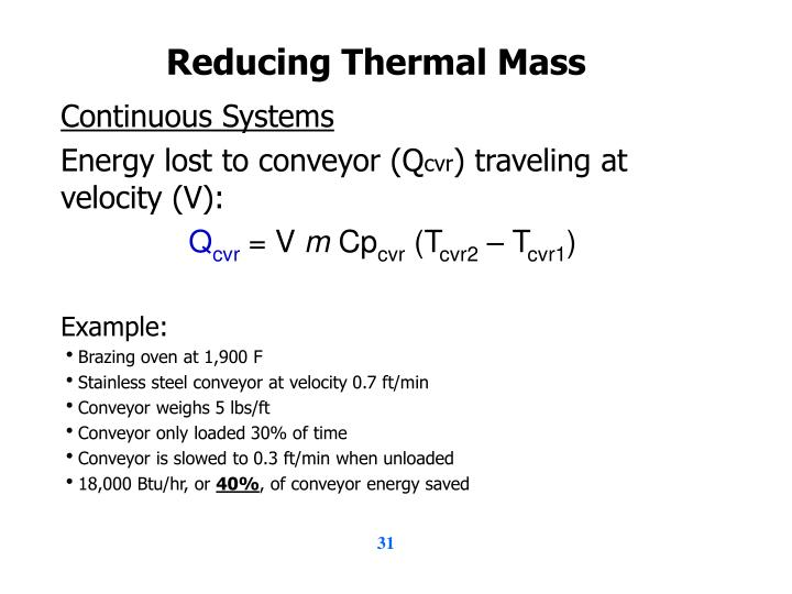 Reducing Thermal Mass