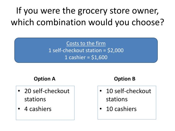 If you were the grocery store owner, which combination would you choose?