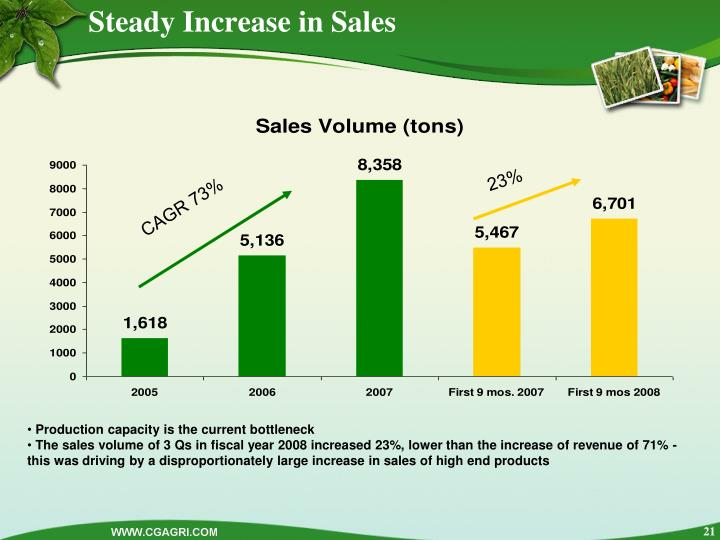 Steady Increase in Sales