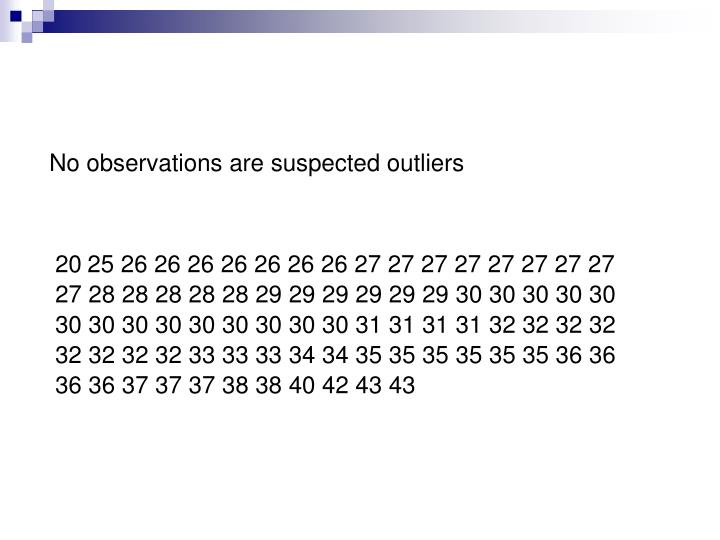 No observations are suspected outliers