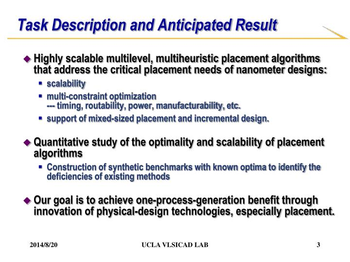 Task description and anticipated result