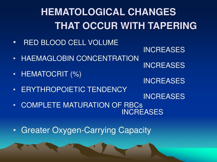 HEMATOLOGICAL CHANGES