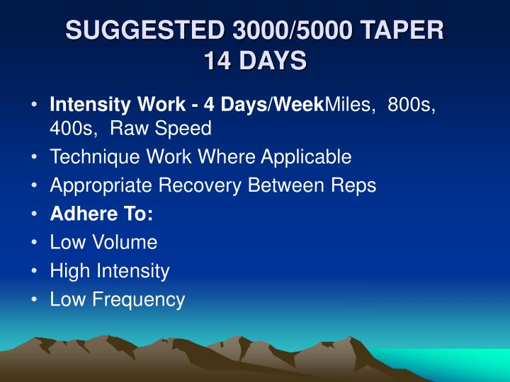 SUGGESTED 3000/5000 TAPER