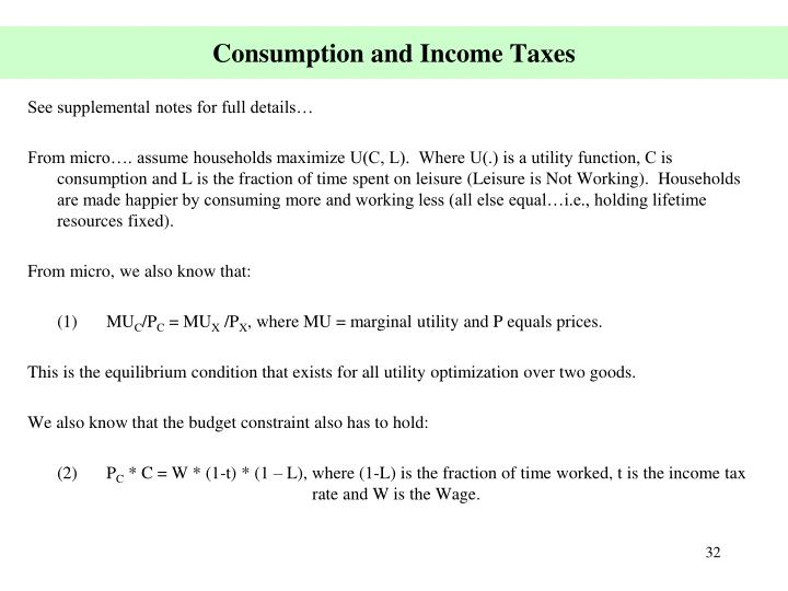 Consumption and Income Taxes