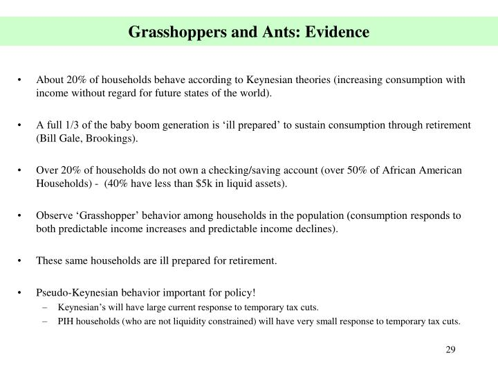 Grasshoppers and Ants: Evidence