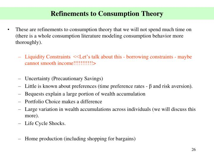 Refinements to Consumption Theory