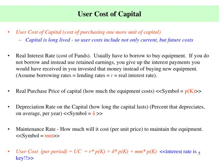 User Cost of Capital