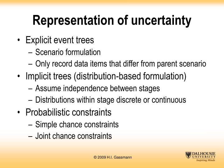 Representation of uncertainty