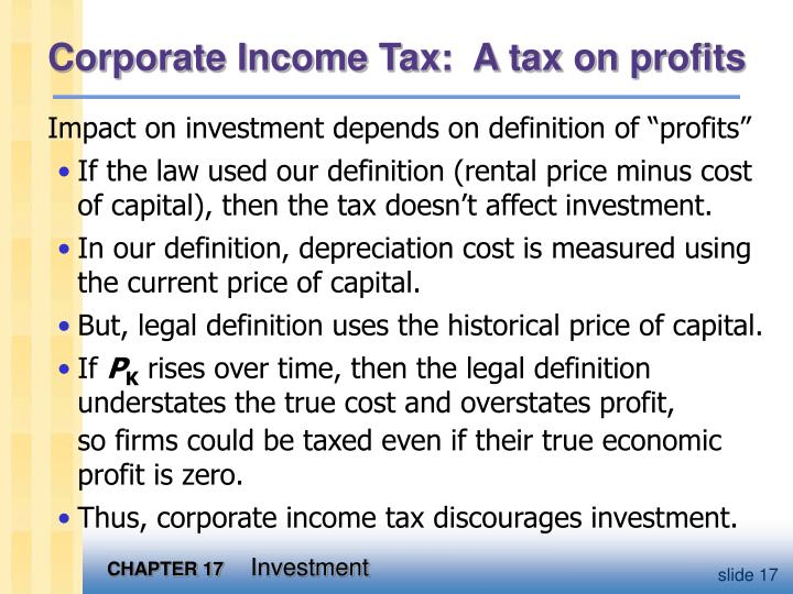 Corporate Income Tax:  A tax on profits