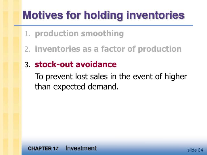 Motives for holding inventories
