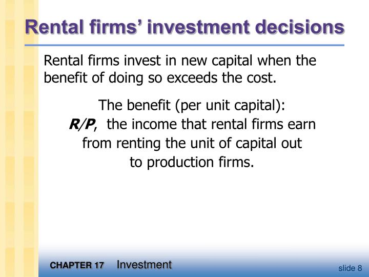 Rental firms' investment decisions