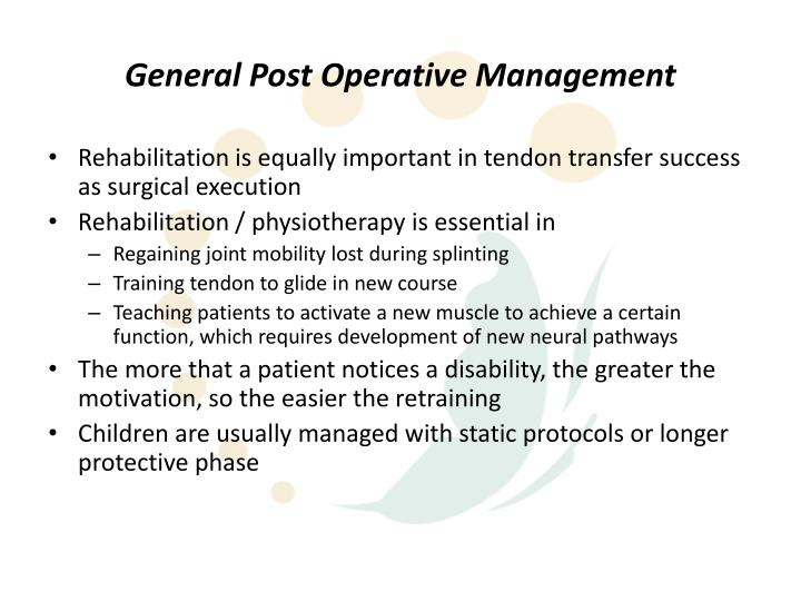 General Post Operative Management