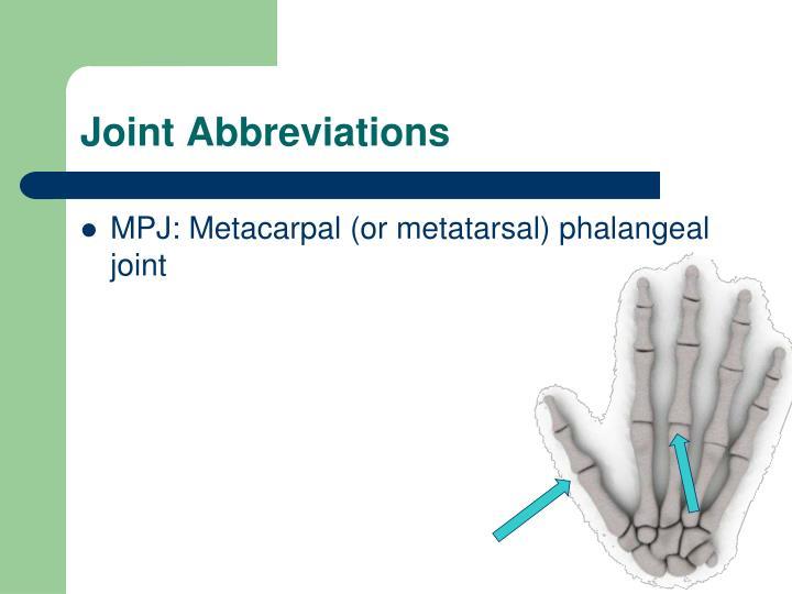 Joint Abbreviations