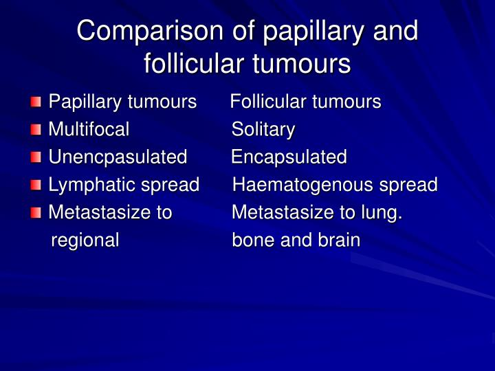 Comparison of papillary and follicular tumours
