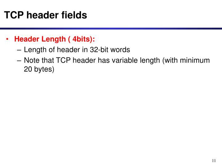 TCP header fields