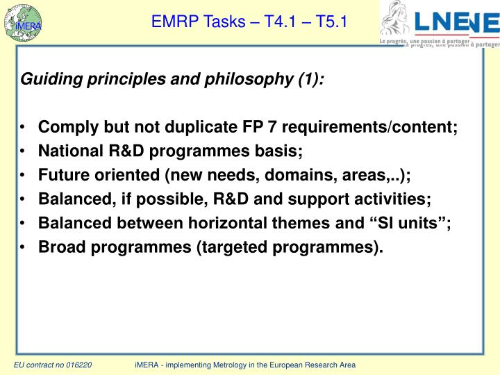 EMRP Tasks – T4.1 – T5.1