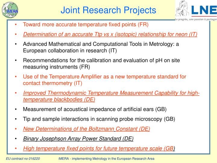 Joint Research Projects
