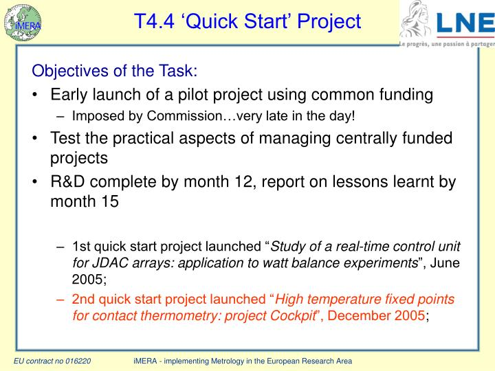 T4.4 'Quick Start' Project