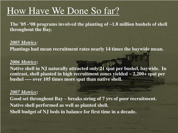 The '05 -'08 programs involved the planting of ~1.8 million bushels of shell throughout the Bay.