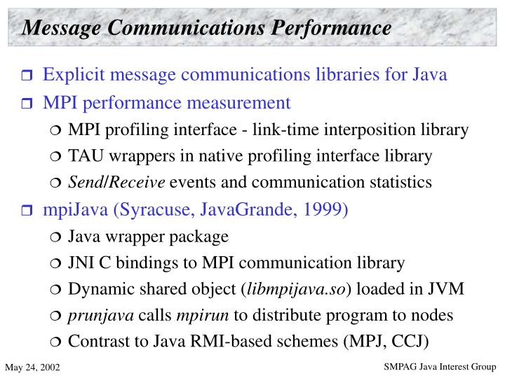 Message Communications Performance