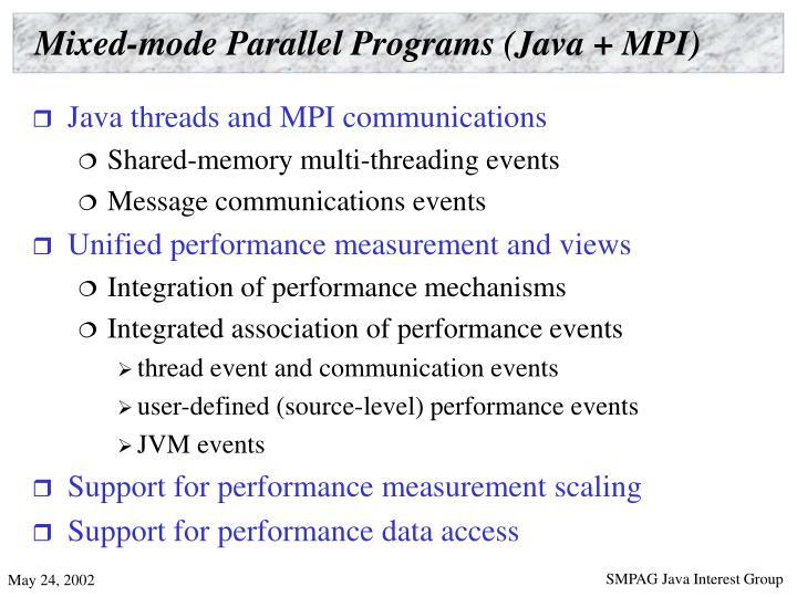 Mixed-mode Parallel Programs (Java + MPI)