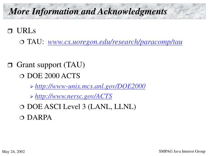 More Information and Acknowledgments