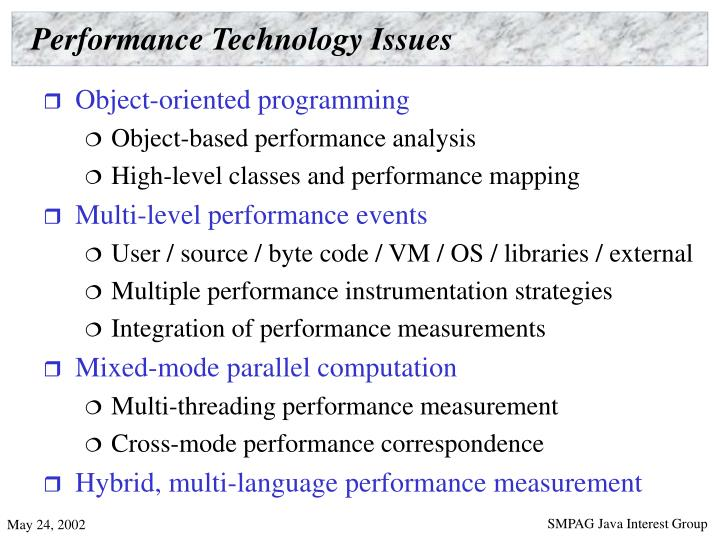 Performance Technology Issues