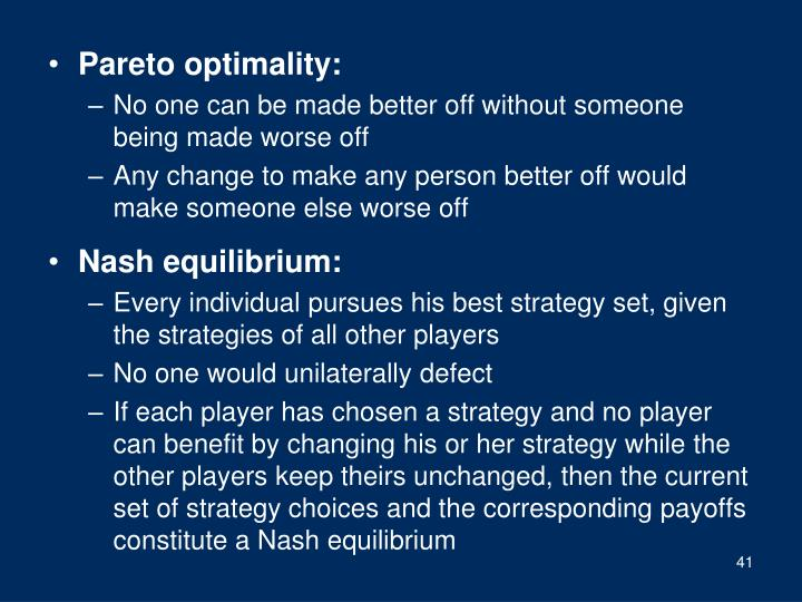 Pareto optimality: