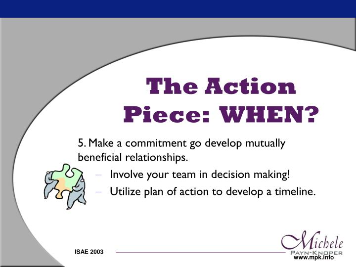 The Action Piece:  WHEN?