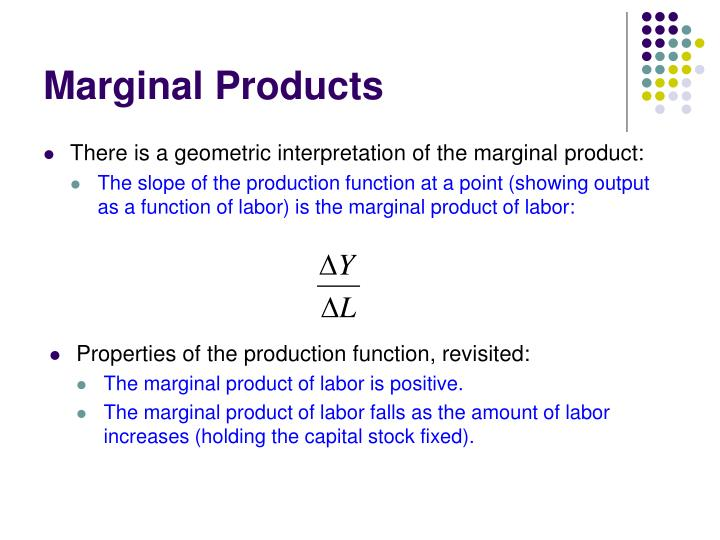 There is a geometric interpretation of the marginal product: