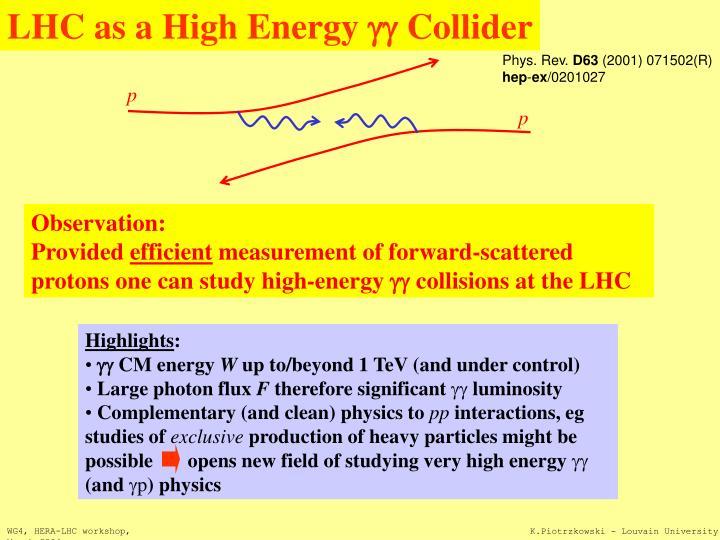 LHC as a High Energy