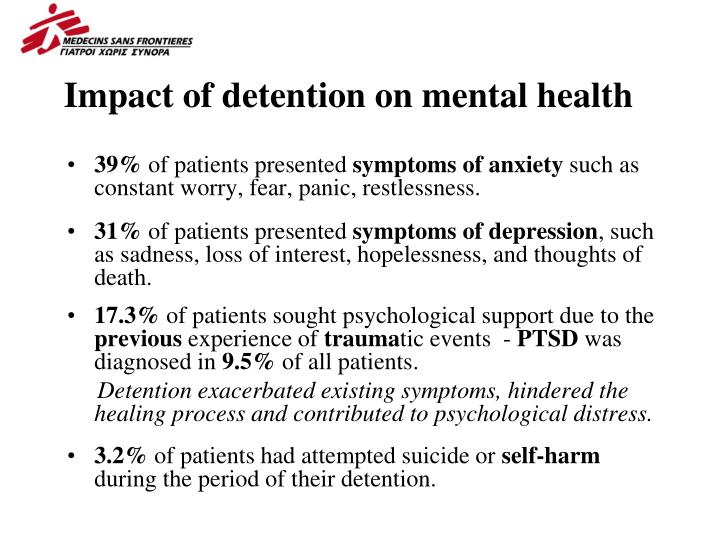 Impact of detention on mental health