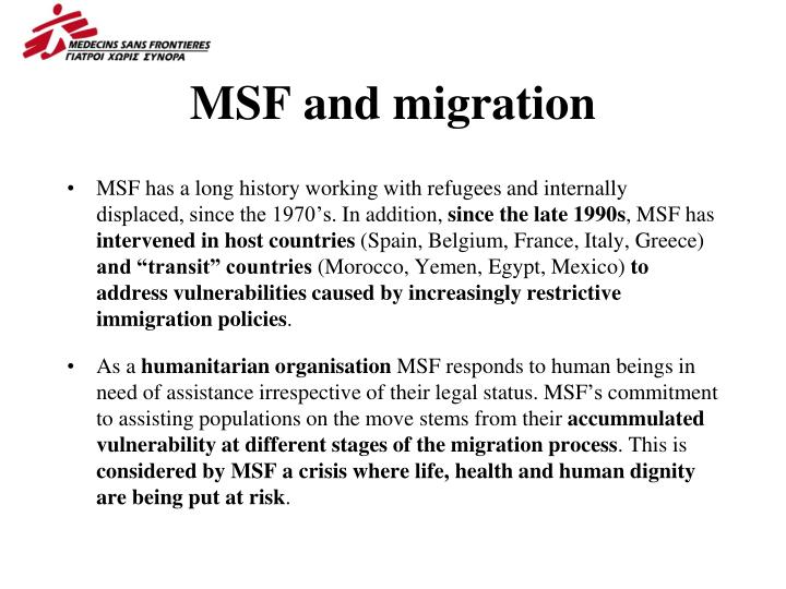 Msf and migration