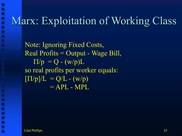 Marx: Exploitation of Working Class