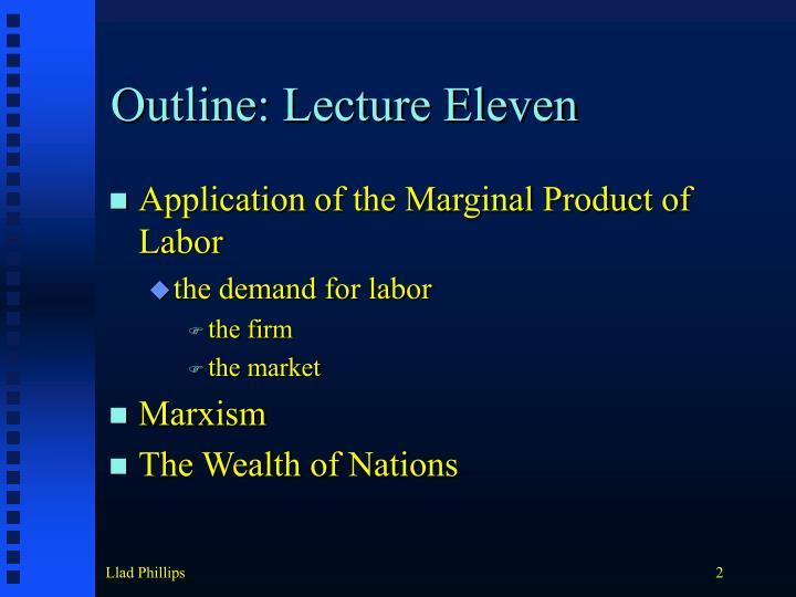 Outline lecture eleven