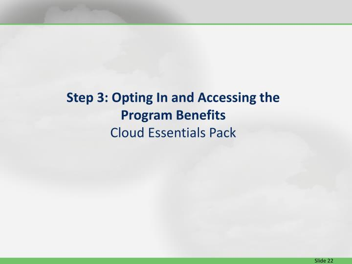 Step 3: Opting In and Accessing the Program Benefits